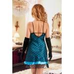 plus size-044 Glamorous satin and lace Overlay babydoll Turquoise  S-6XL Babydolls-Nine X